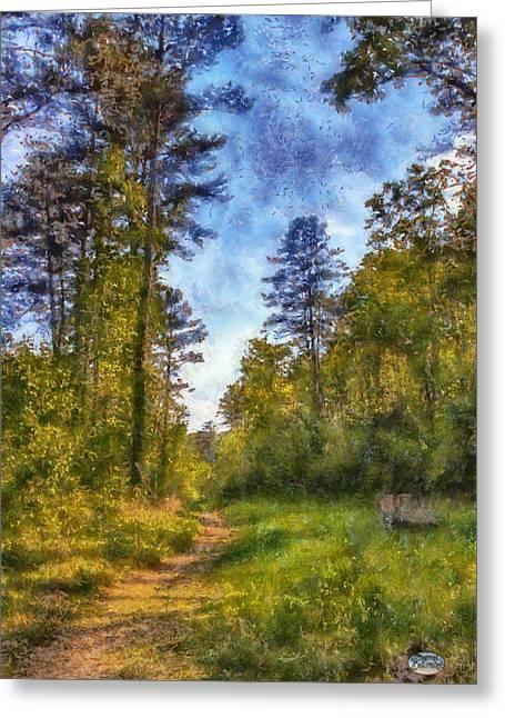 Olde Greeting Cards - Olde Rope Mill Trail Greeting Card by Daniel Eskridge