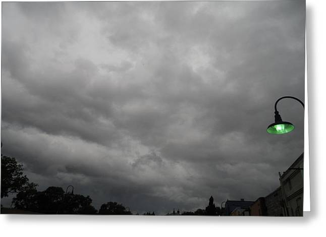Leaden Sky Greeting Cards - Olde Towne Storm Above Greeting Card by James Potts
