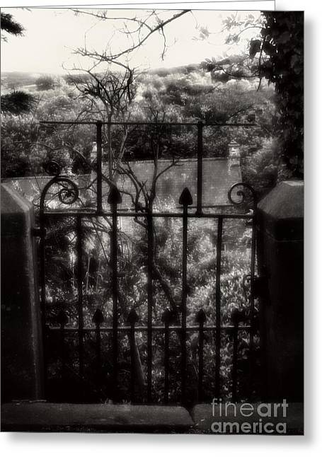 Old Country Roads Mixed Media Greeting Cards - Olde Victorian Gate Leading To A Secret Garden - Peak District - England Greeting Card by Michael Braham