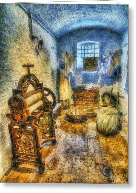 Clean Water Digital Art Greeting Cards - Olde Victorian Washroom Greeting Card by Ian Mitchell