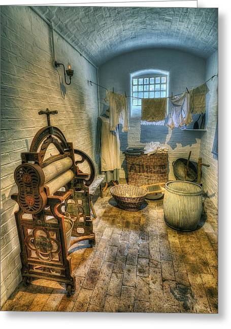 Vintage Clothes Greeting Cards - Olde Wash Room Greeting Card by Ian Mitchell