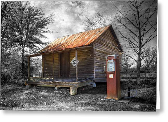 Mountain Cabin Greeting Cards - Olden Days Greeting Card by Debra and Dave Vanderlaan