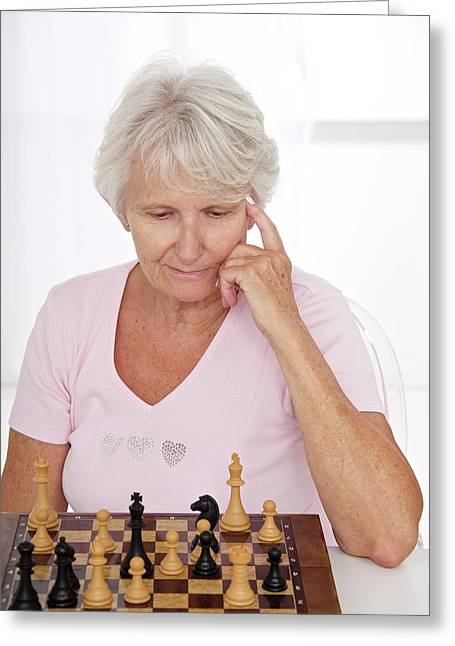 Older Lady Playing Chess Greeting Card by Lea Paterson