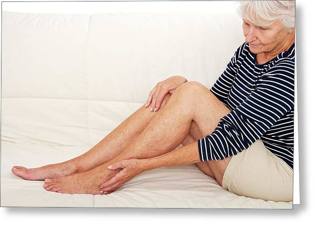 Older Lady With Ankle Pain Greeting Card by Lea Paterson
