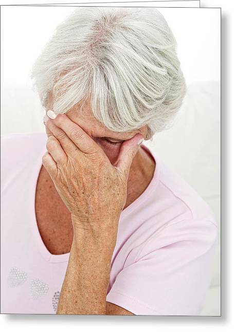 Older Lady With Headache Greeting Card by Lea Paterson