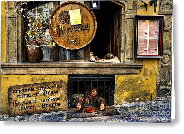 Town Square Greeting Cards - Oldest Tavern in Prague Greeting Card by Brenda Kean