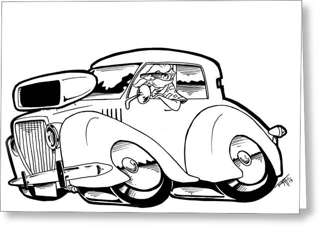 I Roate This Drawings Greeting Cards - Olds Beach Boy Greeting Card by Big Mike Roate