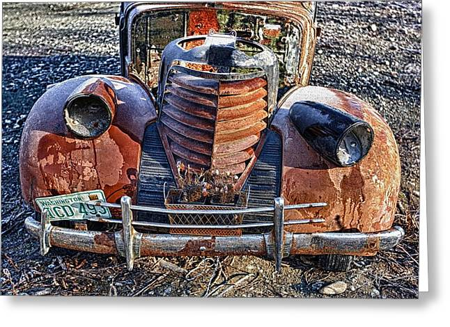Rusted Cars Greeting Cards - Olds Greeting Card by Ed Boudreau