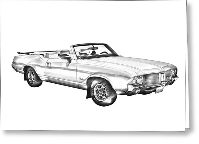 Supremes Greeting Cards - Oldsmobile Cutlass Supreme Muscle Car Illustration Greeting Card by Keith Webber Jr