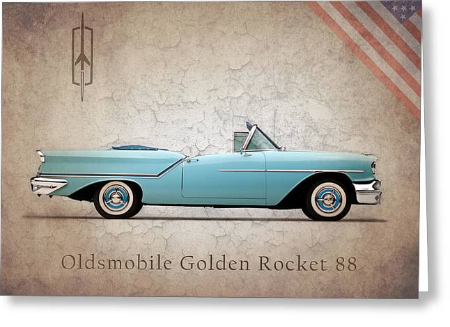 Oldsmobile Greeting Cards - Oldsmobile Golden Rocket 88 1957 Greeting Card by Mark Rogan