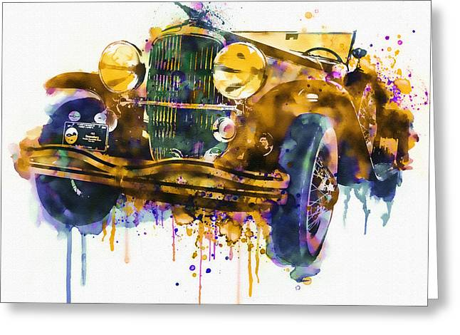 Headlight Mixed Media Greeting Cards - Oldtimer Automobile in watercolor Greeting Card by Marian Voicu