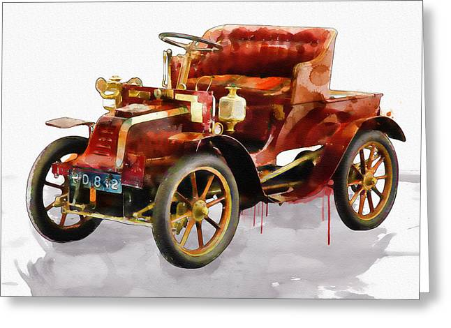 Oldsmobile Greeting Cards - Oldtimer Car watercolor Greeting Card by Marian Voicu