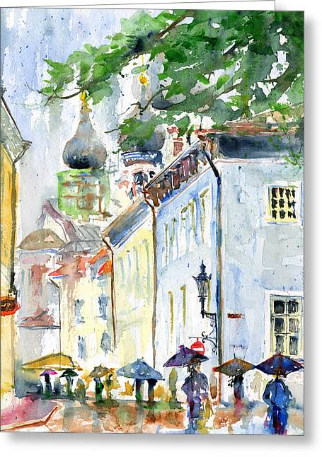 Oldtown Tallinn Estonian Greeting Card by John D Benson