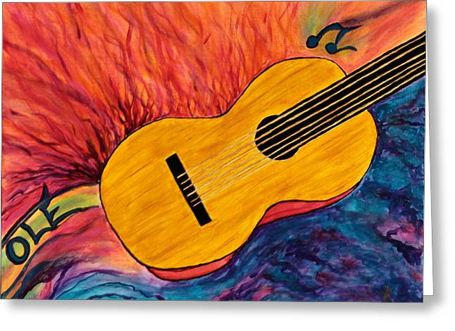 Santa Cruz Ca Paintings Greeting Cards - Ole Guitar Greeting Card by Phoenix The Moody Artist