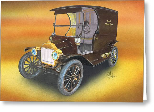 Ford Model T Car Mixed Media Greeting Cards - Ole No 1 Greeting Card by Chris Fraser