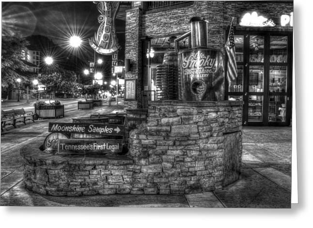Gatlinburg Tennessee Greeting Cards - Ole Smoky Tennessee Moonshine in Black and White Greeting Card by Greg and Chrystal Mimbs