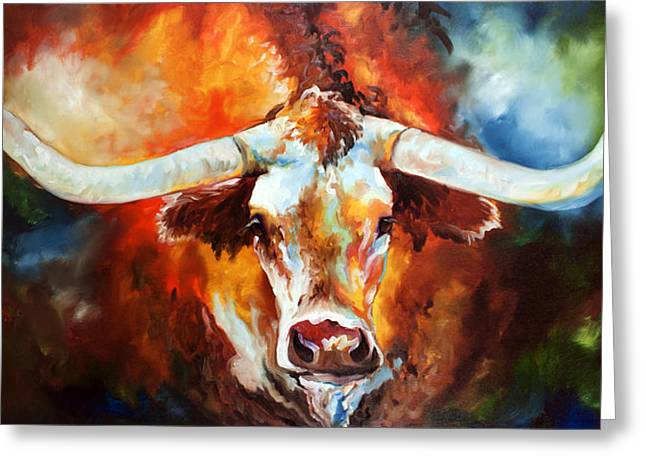 Original Oil Paintings Greeting Cards - Ole Tex Longhorn Greeting Card by Marcia Baldwin