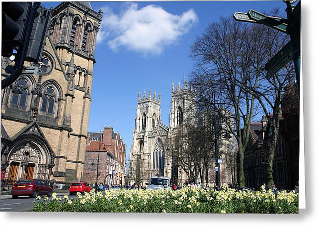 Minster Abbey Greeting Cards - Ole York Greeting Card by Scott Perkins