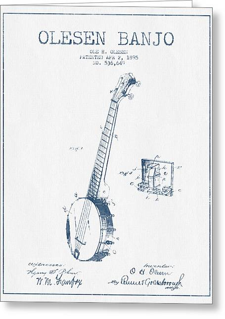 Banjo Greeting Cards - Olesen Banjo Patent Drawing From 1895 - Blue Ink Greeting Card by Aged Pixel