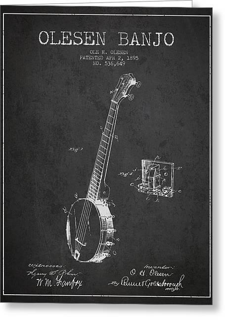 Banjo Greeting Cards - Olesen Banjo Patent Drawing From 1895 - Dark Greeting Card by Aged Pixel