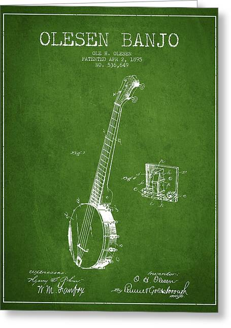 Banjo Greeting Cards - Olesen Banjo Patent Drawing From 1895 - Green Greeting Card by Aged Pixel