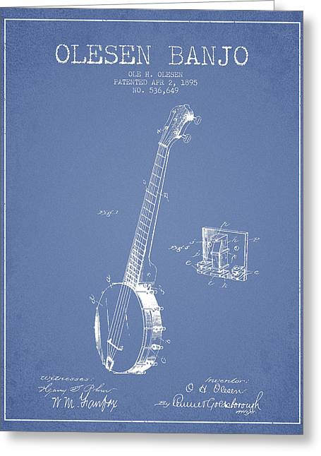 Banjo Greeting Cards - Olesen Banjo Patent Drawing From 1895 -Light Blue Greeting Card by Aged Pixel