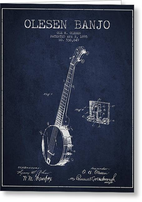 Banjo Greeting Cards - Olesen Banjo Patent Drawing From 1895 - Navy Blue Greeting Card by Aged Pixel