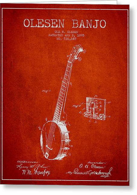 Banjo Greeting Cards - Olesen Banjo Patent Drawing From 1895 - Red Greeting Card by Aged Pixel