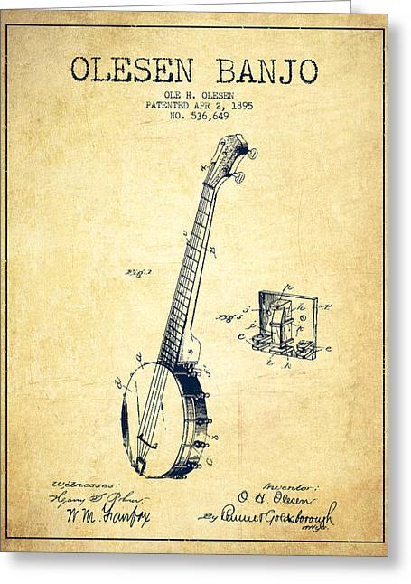 Banjo Greeting Cards - Olesen Banjo Patent Drawing From 1895 - Vintage Greeting Card by Aged Pixel