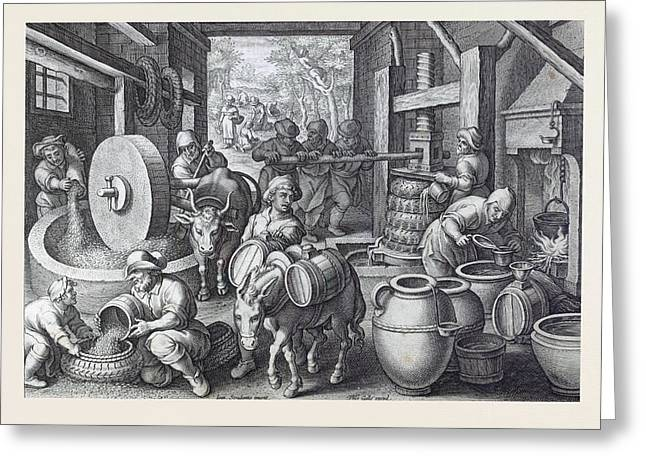 Oleum Olivarum, The Invention Of The Olive Oil Press Greeting Card by Italian School
