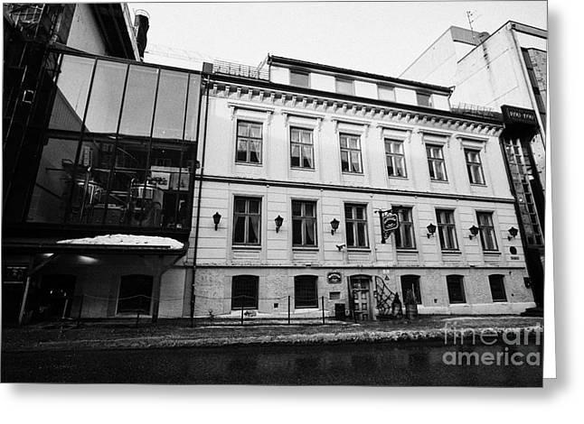 olhallen macks beer hall and Tromsos oldest pub troms Norway europe Greeting Card by Joe Fox