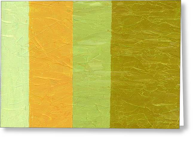 Geometric Image Greeting Cards - Olive and Peach Greeting Card by Michelle Calkins