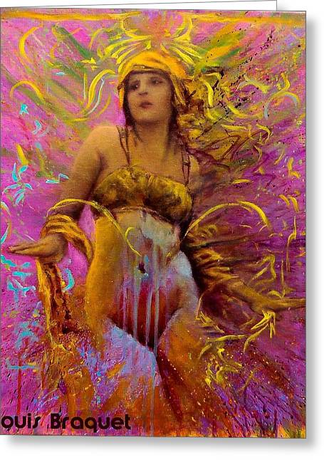 Classic Hollywood Mixed Media Greeting Cards - Olive Ann Alcorn Greeting Card by Louis  Braquet