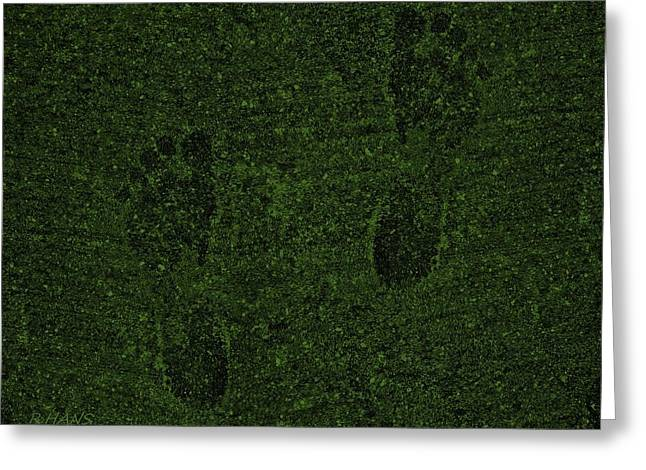 Olive Drab Greeting Cards - Olive Green Feet Prints Greeting Card by Rob Hans
