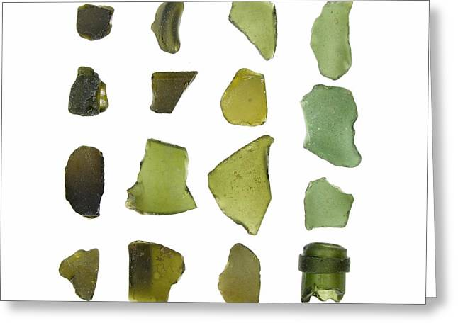 Olives Photographs Greeting Cards - Olive Green Sea glass Greeting Card by Jennifer Booher