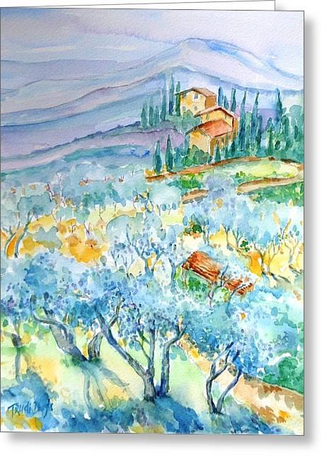 Sienna Italy Greeting Cards - Olive Groves of Cozille Tuscany  Greeting Card by Trudi Doyle