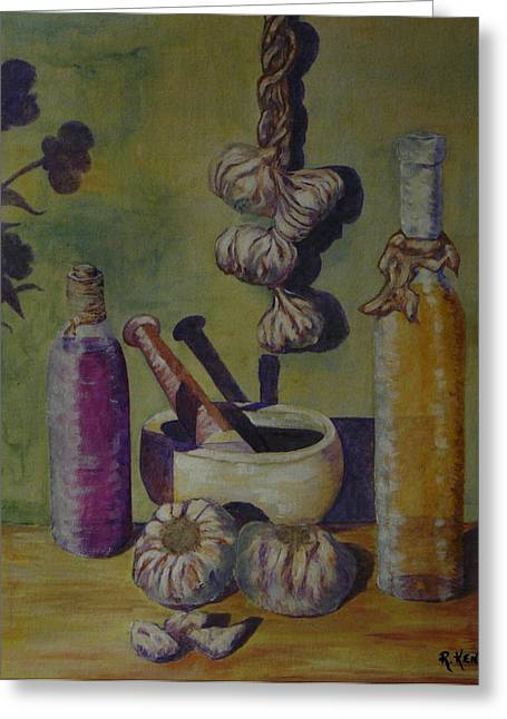 Pestal Greeting Cards - Olive Oil And Garlic Greeting Card by Roy Kenen