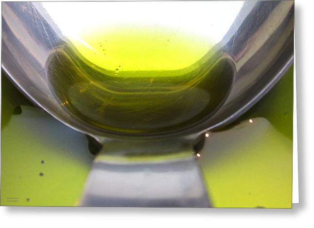 Stainless Steel Greeting Cards - Olive Oil in a Ladle Greeting Card by Alexandros Daskalakis