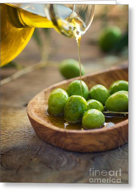 Italian Restaurant Greeting Cards - Olive oil Greeting Card by Mythja  Photography