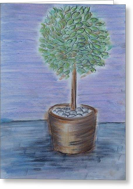 Olives Pastels Greeting Cards - Olive Tree Greeting Card by Christina Arsenis