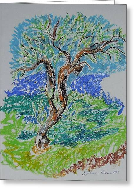 Olive Tree In Fall Greeting Card by Esther Newman-Cohen