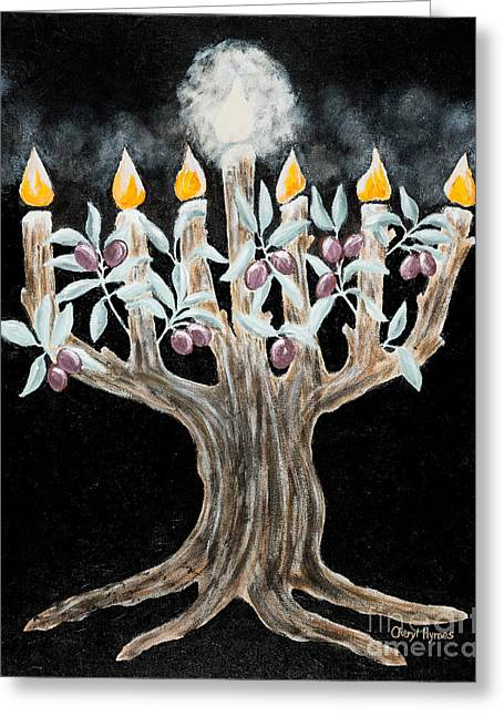 Messianic Greeting Cards - Olive Tree Menorah Greeting Card by Cheryl Hymes