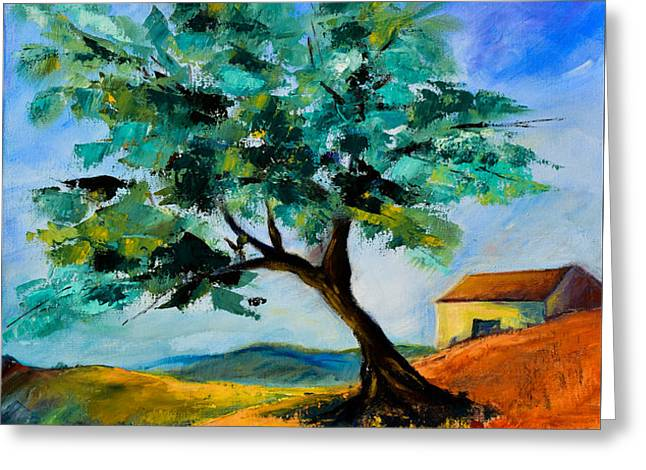 Olive Tree on the Hill Greeting Card by Elise Palmigiani