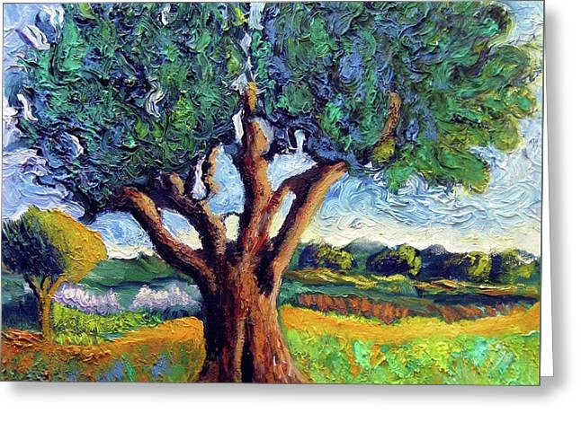 Van Gogh Style Greeting Cards - Olive Tree Greeting Card by Venus