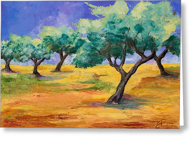 Fauvism Greeting Cards - Olive Trees Grove Greeting Card by Elise Palmigiani