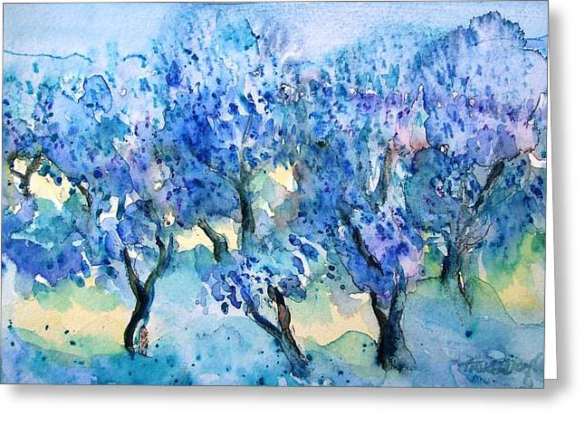Olive Trees In A Tuscan Garden  Greeting Card by Trudi Doyle