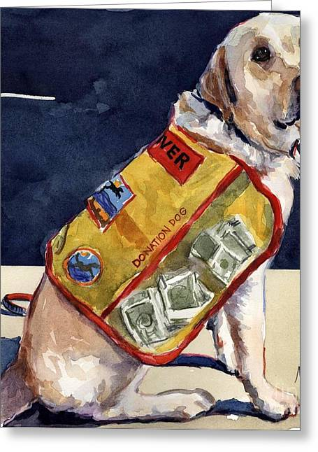Yellow Labrador Retriever Greeting Cards - Oliver Rocks the Vest Greeting Card by Molly Poole