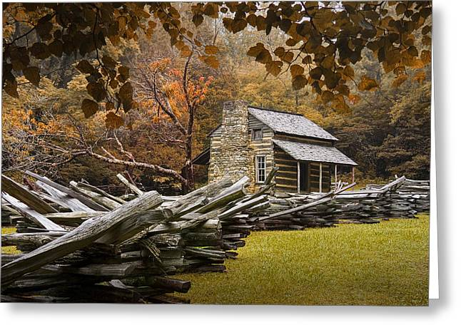 Oliver's Log Cabin During Fall In The Great Smoky Mountains Greeting Card by Randall Nyhof