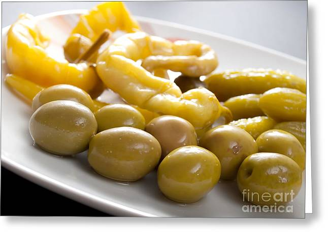 Fresh Food Greeting Cards - Olives and pepperoni Greeting Card by Sinisa Botas