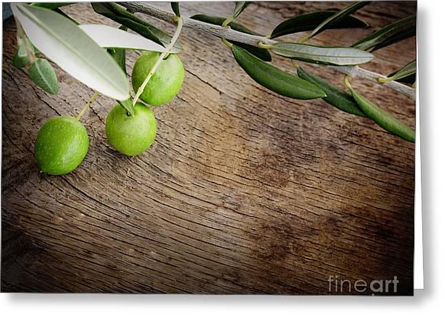 Mythja Greeting Cards - Olives background Greeting Card by Mythja  Photography